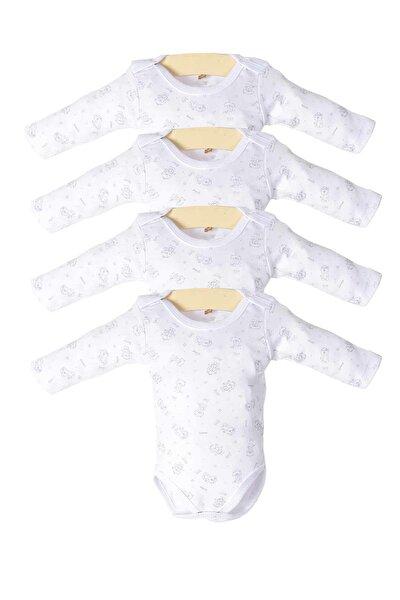 Erkek Bebek Beyaz Çıtçıtlı Uzun Kollu 4'lü Zıbın Takımı Ptk20s-408