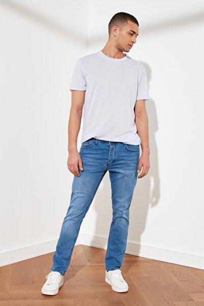 Koyu Mavi Erkek Tırmık Destroylu Slim Fit Jeans TMNSS21JE0067