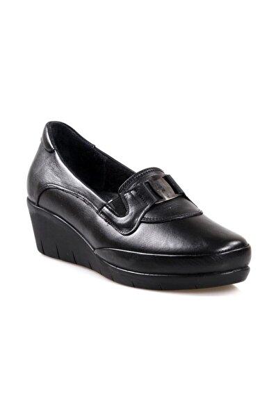 116 Siyah Ortapedik Comfort Deri Kadın Ayakkabısı