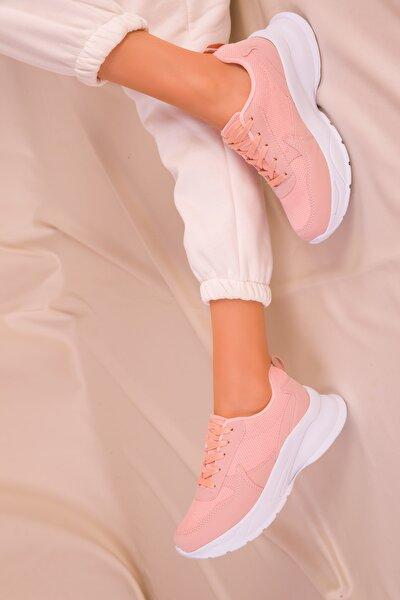 Pudra-Beyaz Kadın Sneaker 15217