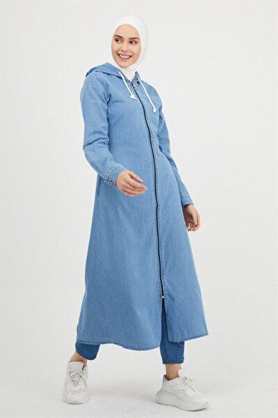 Fermuarlı 8632 Kot Ferace - Açık Mavi