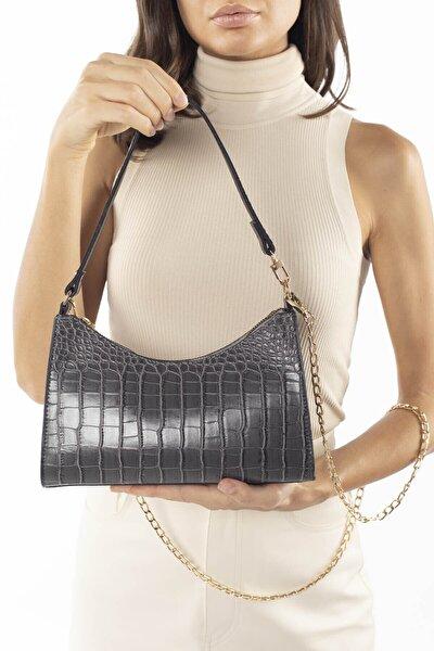 Aynı Butikte 2. Ürün 1 TL Füme Kroko Kadın Baget Zincir Askılı Omuz Çantası ve Postacı Çantası