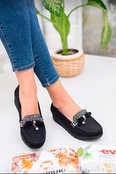 Fiyonklu Ortopedik Günlük Siyah  Ayakkabı