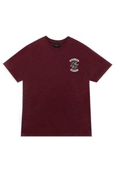 Unisex Bordo Riverdale Southside Serpents Baskılı T-shirt
