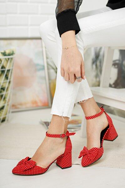 Kadın Kırmızı Polder Puantiye Hafif Topuklu Ayakkabı