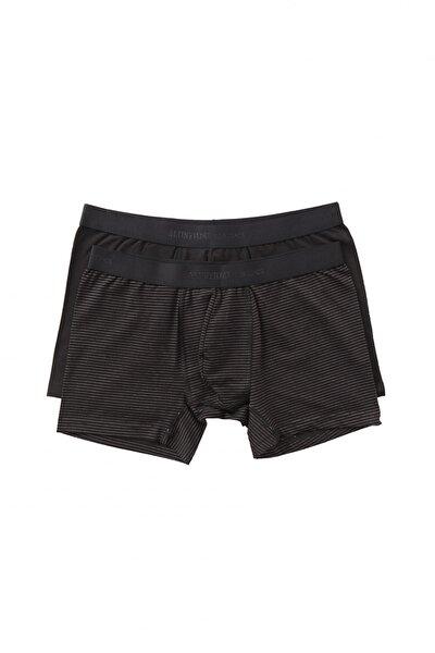 Erkek Siyah-Gri 2li Boxer Paketi