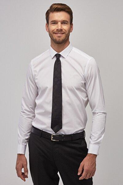 Erkek Beyaz Tailored Slim Fit Duble Manşet Gömlek