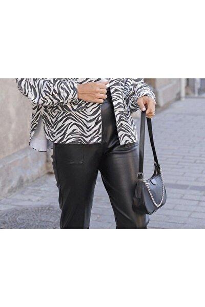 Kadın Siyah Saten Ince Zincirli Baget Baguette Çanta