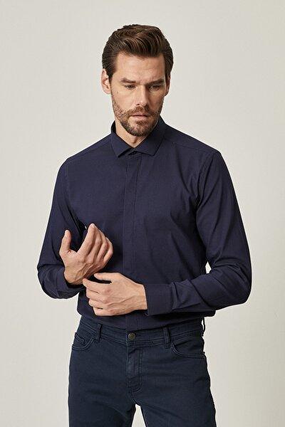 Erkek Lacivert Tailored Slim Fit Dar Kesim Küçük Italyan Yaka Gömlek