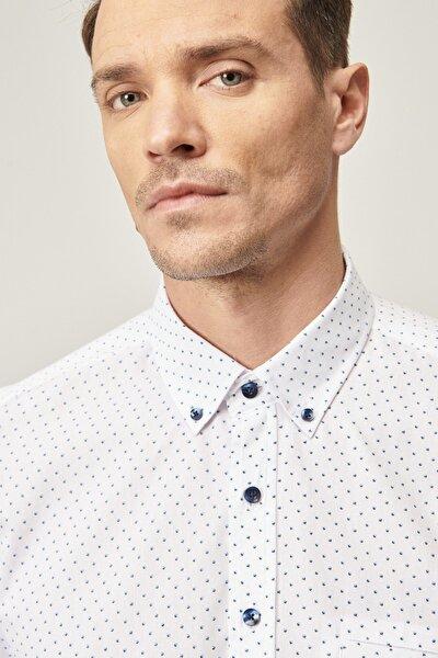 Erkek Beyaz Tailored Slim Fit Düğmeli Yaka Baskılı Gömlek