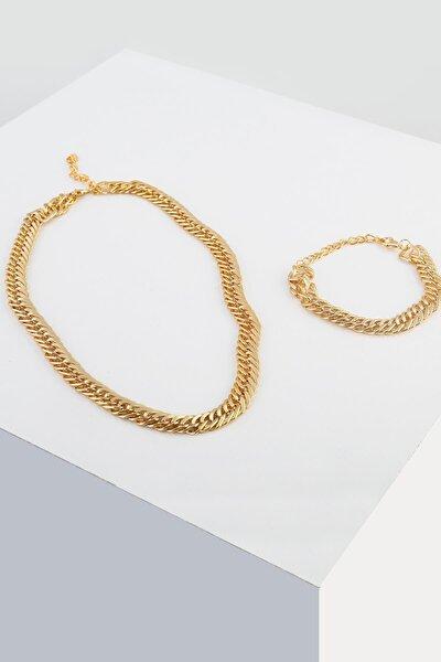 Kadın Sarı Kılçık Zincir Kolye Bileklik Takı Seti