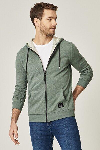 Erkek Haki Slim Fit Günlük Rahat Fermuarlı Spor Sweatshirt