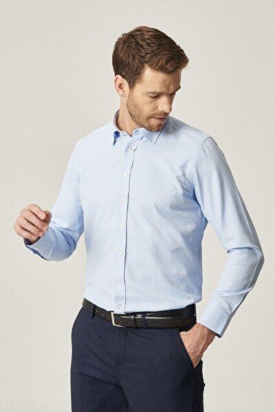 Erkek Mavi Tailored Slim Fit Dar Kesim Düğmeli Yaka Baskılı Gömlek