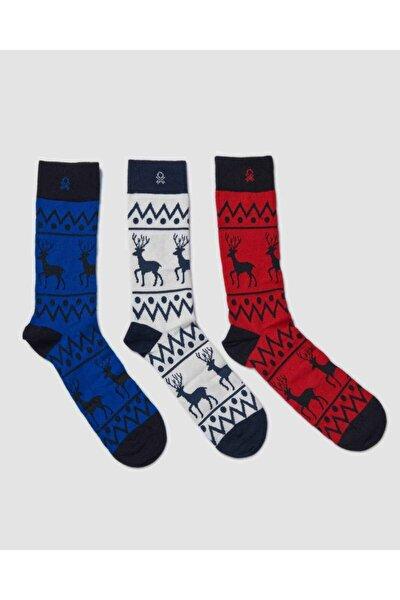 Benetton 3'lü Paket Desenli Çorap