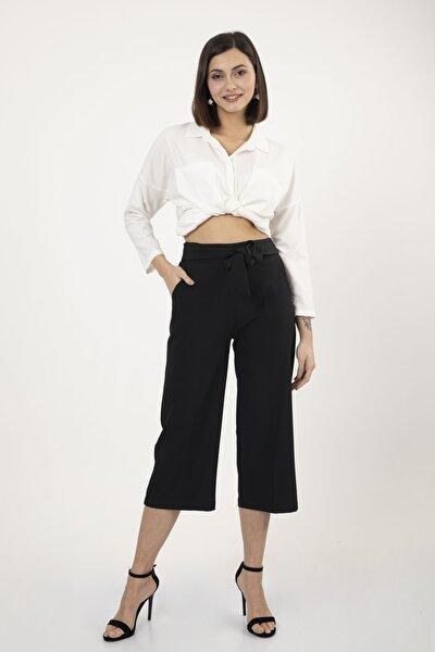 Kadın Siyah Beli Lastikli Kuşaklı Geniş Kesim Bol Paça Rahat Kalıp Pantolon