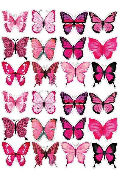 Pembe Kelebekli Sticker Seti 24'lü Butterfly Etiket Seti