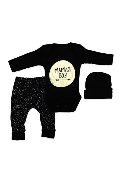 Erkek Bebek Siyah Şapkalı Mamas Boy 3 Lü Takım K894