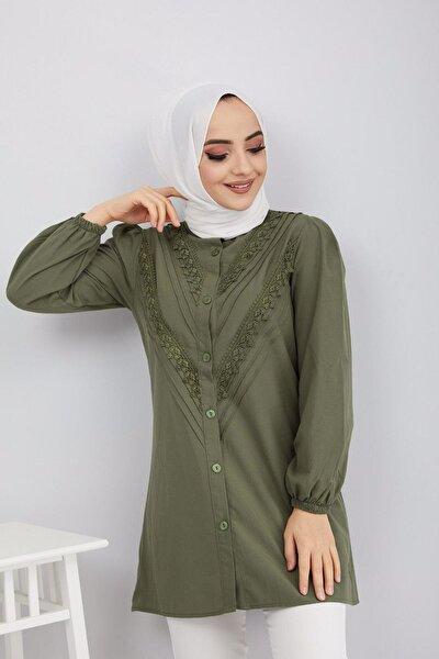 Kadın Haki Dantel Detaylı Pamuklu Gömlek