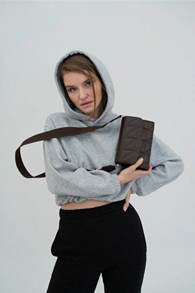 Kadın Kolon Askılı Baget Çanta Brenda Acı Kahve