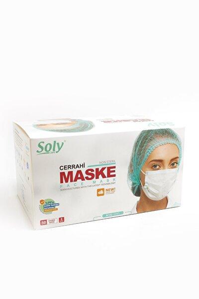3 Katlı Tekli Kağıt Ambalajlı Meltblown Telli Cerrahi Beyaz Maske 50'li