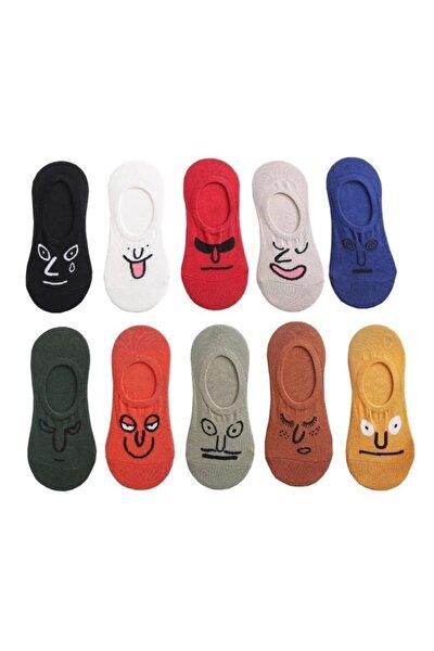 Unisex Renkli Yüz Desenli Babet Çorap 10'lu