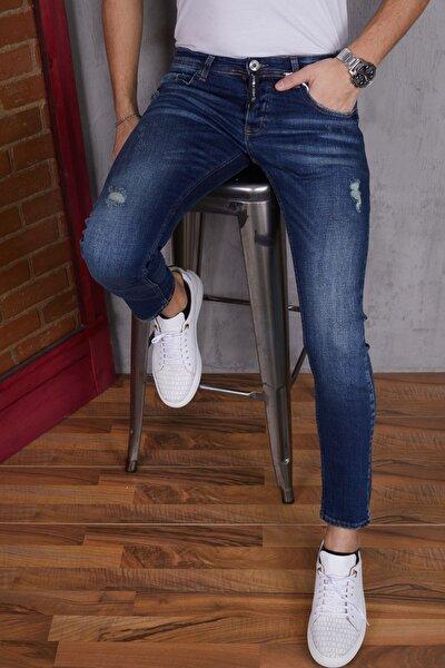 Erkek Koyu Mavi Yırtıklı Peçli Kot Pantolon Erkek Jeans Slimfit