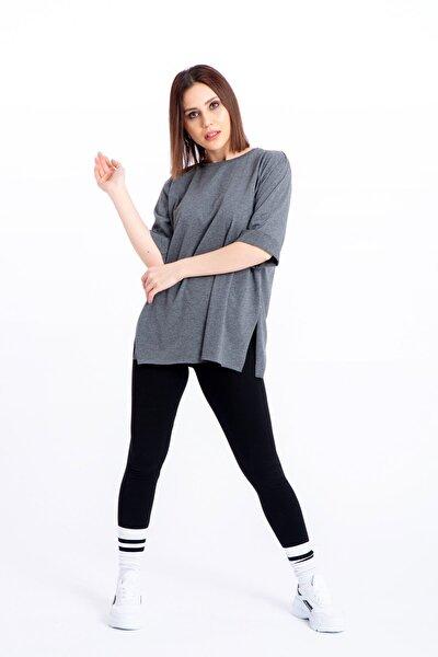 Kadın  Denim Duble Kol T-shirt 1073-3678