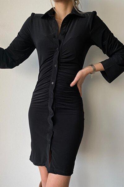 Bel Büzgülü Elbise Siyah
