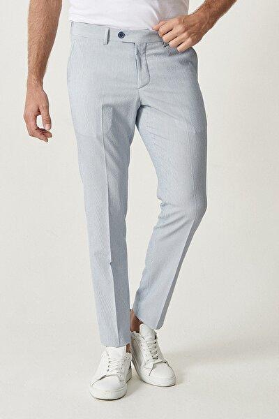 Erkek Mavi Slim Fit Desenli Pantolon