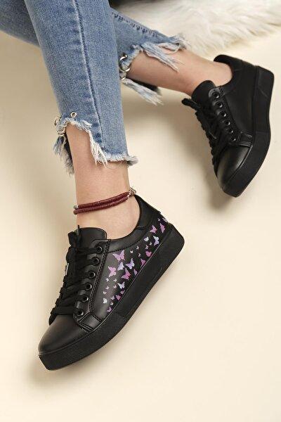 End Kelebek Desenli Kadın Sneaker