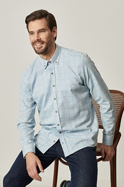 Erkek Açık Mavi Tailored Slim Fit Dar Kesim Düğmeli Yaka %100 Koton Kareli Gömlek