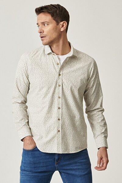 Erkek Beyaz-Haki Tailored Slim Fit Dar Kesim Italyan Yaka Baskılı Gömlek