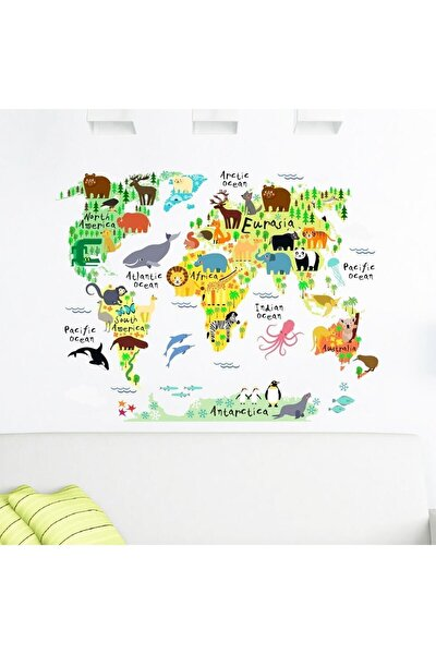 Eğitici Renkli Dünya Haritası , Dünya Atlası Çocuk Ve Bebek Duvar Sticker