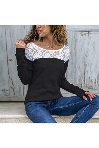 Kadın Siyah Dantel Detay İki İplik Bluz