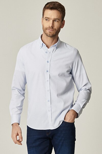 Erkek Beyaz-Mavi Tailored Slim Fit Dar Kesim İtalyan Yaka Baskılı Gömlek