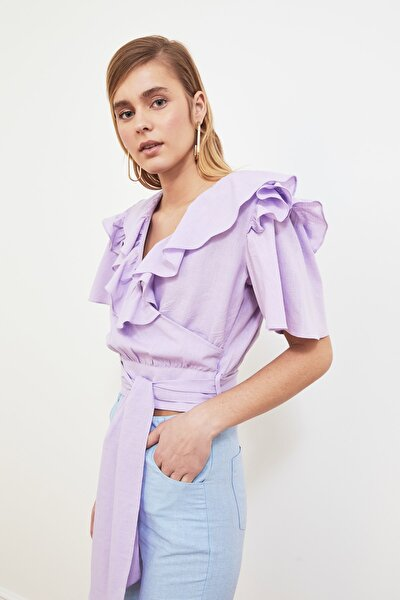 Lila Kuşaklı Volanlı Bluz TWOSS20BZ0351