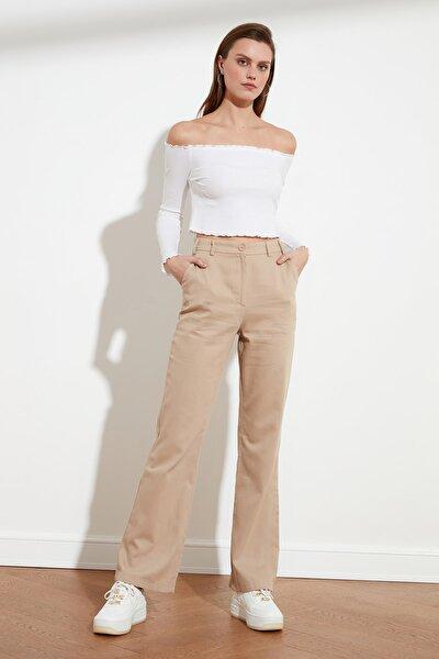 Bej Geniş Paça Pantolon TWOSS21PL0109