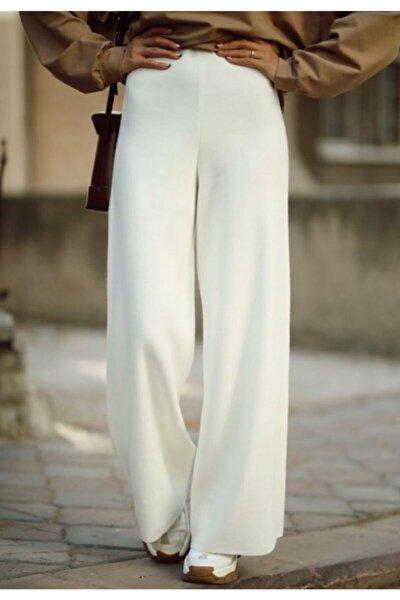 Kadın Beyaz Bol Paça Triko Pantolon