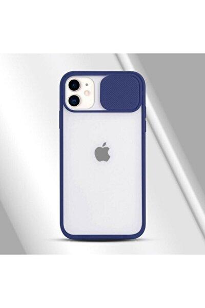 11 İphone Kamera Kapatan Koruyucu Sürgülü Lacivert Kılıf