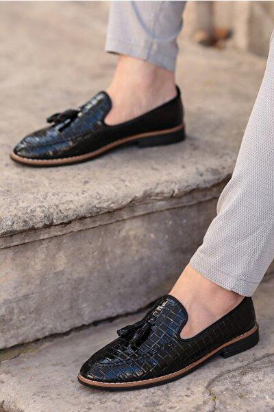 Erkek  Siyah Kroko Ayakkabı 2001-110-0003
