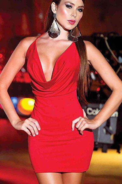 Kadın Kırmızı Metal Aksesuarlı Mini Elbise