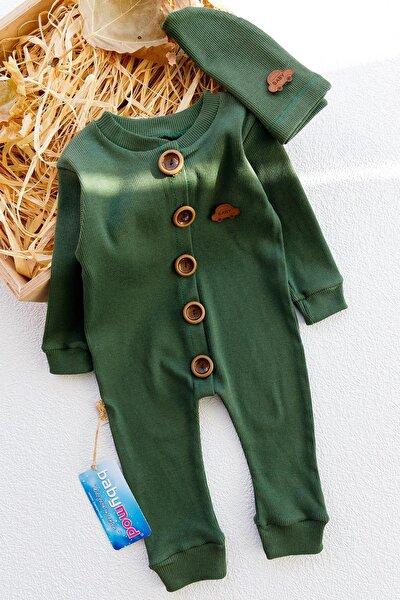 Erkek Bebek Haki Düğmeli Şapkalı Organik Tulum