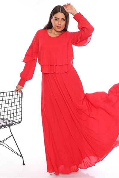 Kadın Kırmızı Dantel Detaylı Abiye Tesettür Elbise