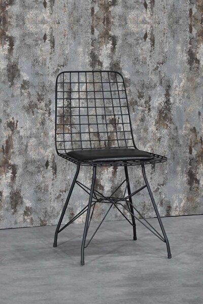 Koket Siyah Tel Sandalye- Mutfak Masa Sandalyesi