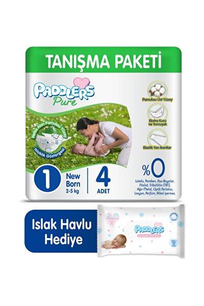 Pure Bebek Bezi 1 Numara Newborn 4 Adet 2-5 kg + 40'lı Islak Havlu