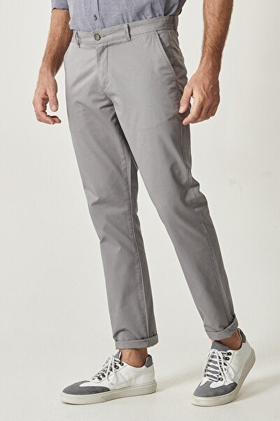 Erkek Gri Kanvas Slim Fit Chino Pantolon