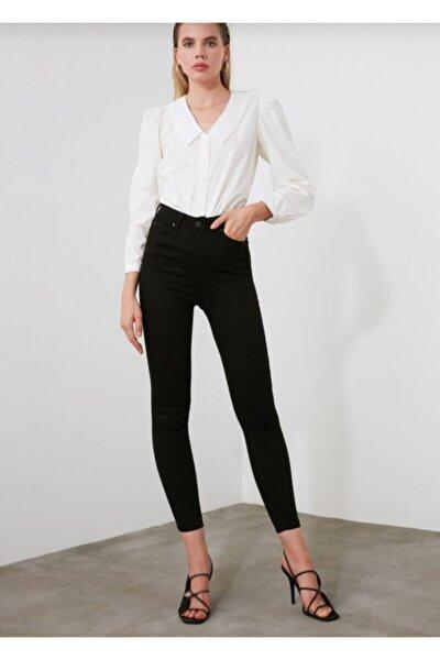 Kadın Siyah  Giyim Yüksek Bel Solmayan Skınny Pantolon