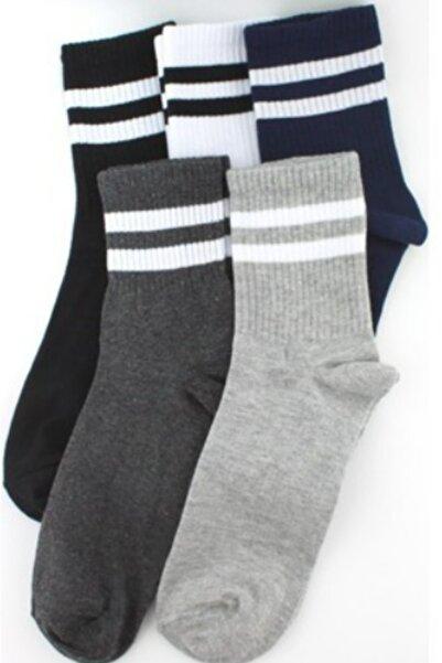 5 Çift Tenis Çizgili Soft Çorap/ Koyu Set