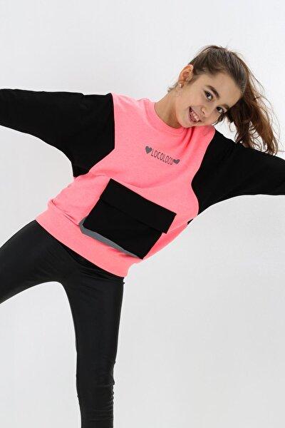 Kız Çocuk Pembe Oversize Cepli Sweatshirt