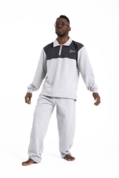 Erkek Gri Kalın Kışlık Cepli Pijama Takımı